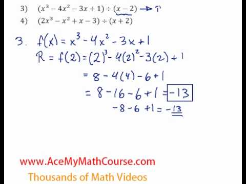 Remainder Theorem - Questions #3-4