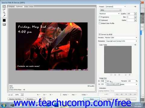 Photoshop CS5 Tutorial The Save for Web & Devices Dialog Box Adobe Training Lesson 15.2