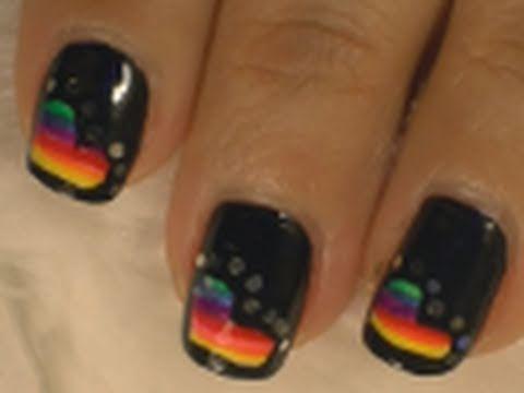 Rockin Rainbow *Valentines* Nail Art  / Arte para las uñas  en estilo de arco iris
