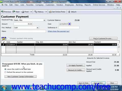 QuickBooks 2011 Tutorial Entering Overpayments Intuit Training Lesson 10.4