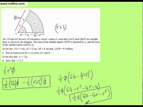 Quadratics to solve for sectors on concentric circles C2 harder exam question