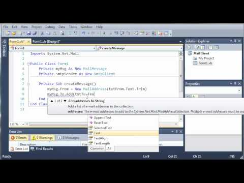 Visual Basic Tutorial - 142 - SMTP Client Part 2   Creating The Message And Credentials