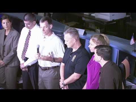 STS-135 Crew Meet Media at Johnson