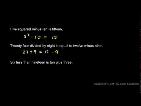 Prealgebra 1.8b - Translating Sentences into Equations