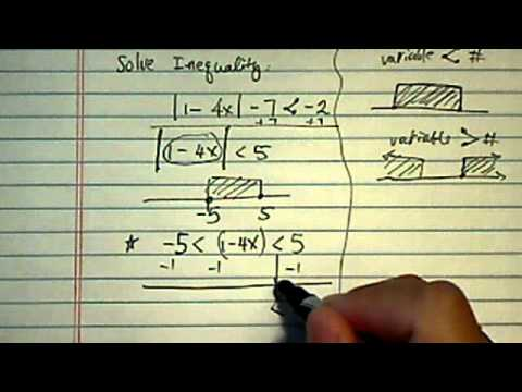 Solve inequality with absolute value: |1-4x|-7 less than -2?