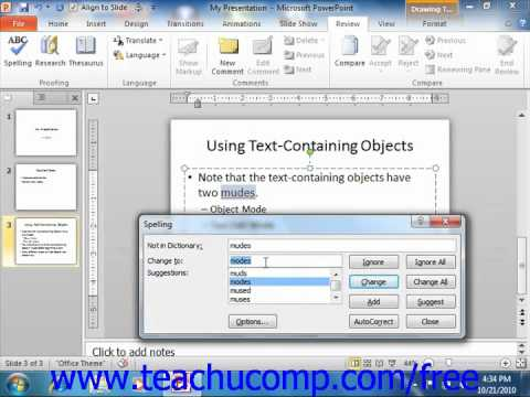 PowerPoint 2010 Tutorial Checking Spelling Microsoft Training Lesson 4.8