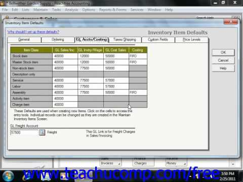 Peachtree Tutorial Setting Inventory Defaults Sage Training Lesson 2.4
