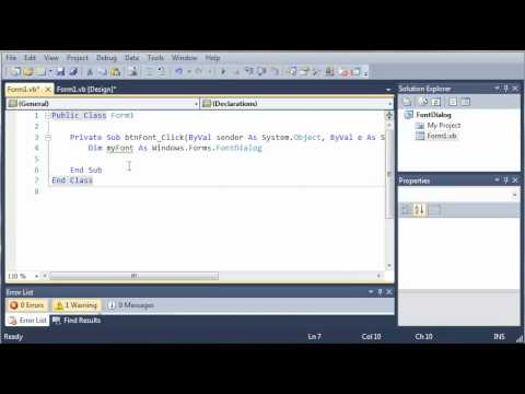 Visual Basic Tutorial - 131 - FontDialog