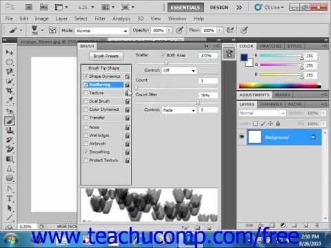 Photoshop CS5 Tutorial Setting Brush Scattering Adobe Training Lesson 6.5