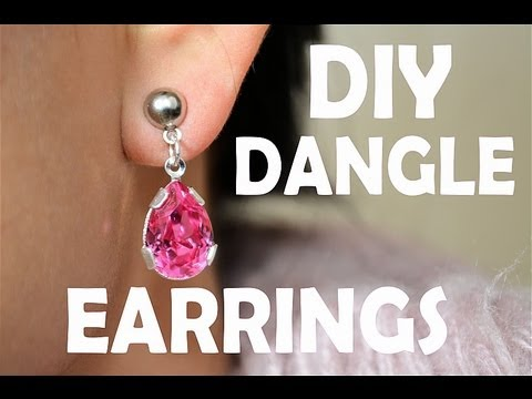 ✿ DIY Earrings Pink Gem Dangle Earrings ✿ AprilAthena7