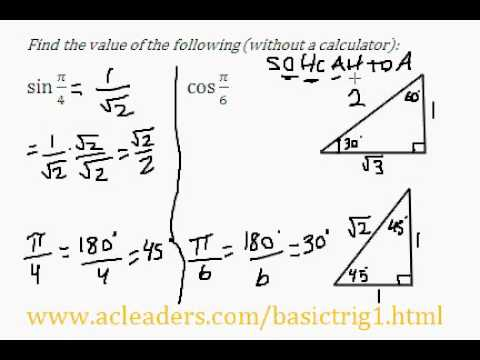 Trigonometric Ratios & Special Triangles - Question #2