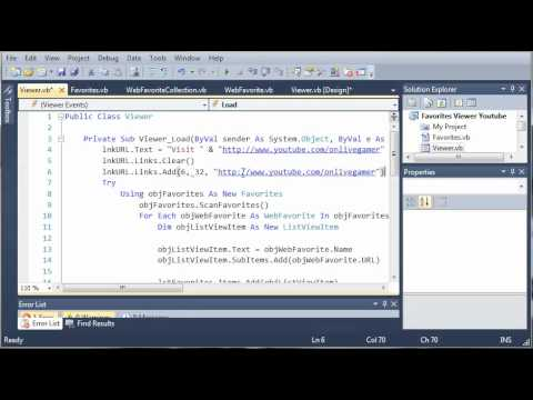 Visual Basic Tutorial - 194 - Favorites Part 7   Startup Link And Refreshing