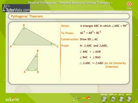 Proof of Pythagoras Theorem based On Similar Triangles