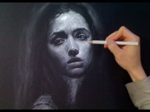 White Charcoal Portrait Drawing - melancholy mood