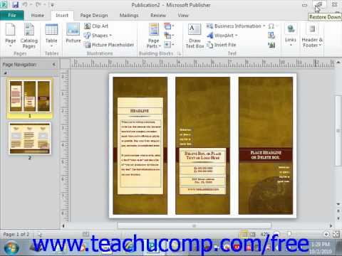 Publisher 2010 Tutorial The Ribbon Microsoft Training Lesson 1.3