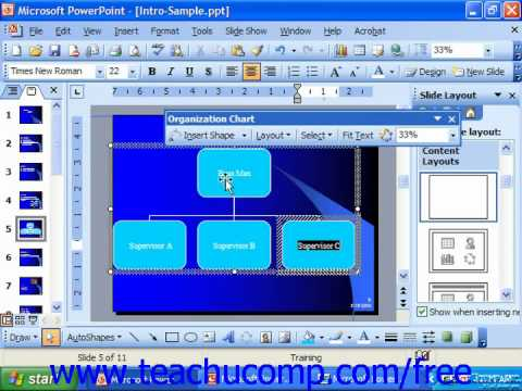 PowerPoint 2003 Tutorial Inserting Diagrams Microsoft Training Lesson 10.1