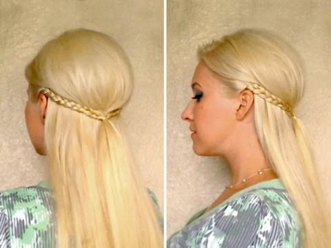 Romantic half up half down hairstyles for medium long hair with braids Cute boho chic tutorial