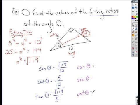 Trigonometry - Finding Trig Ratios