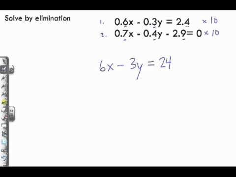 Solving Linear Systems by Elimination Sample Problem 3 - Decimal Values
