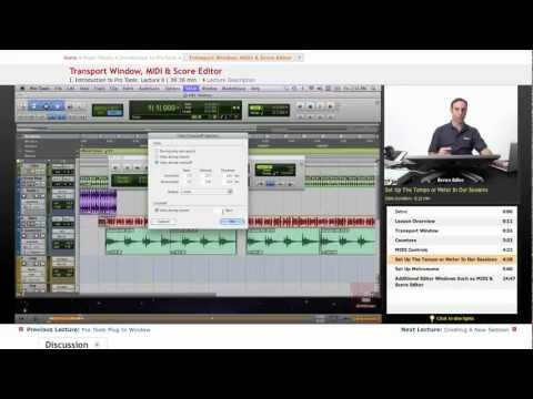 Pro Tools: Transport Window, MIDI & Score Editor