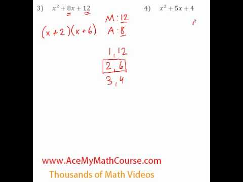 Polynomials - Factoring Trinomials #3-4
