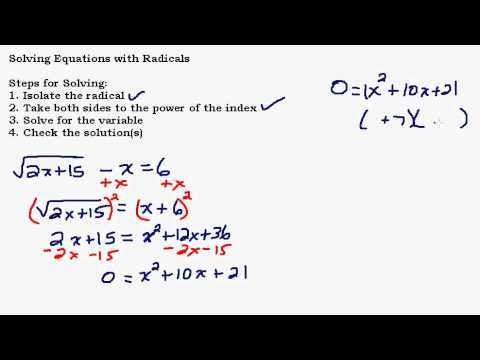 Solving Equations With Radicals Part 3 of 3