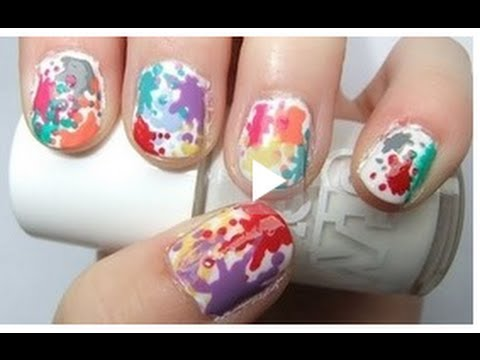 ♥ Easy Paint Splatter Rainbow Nails Tutorial ♥ ( • ◡ • )