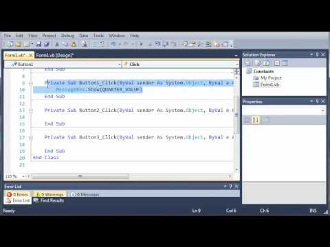 Visual Basic Tutorial - 51 - Constants