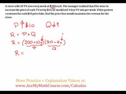 Revenue Maximizing #2 - Optimization Word Problem (Calculus)