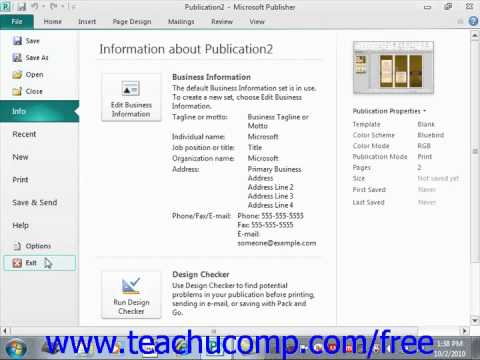 """Publisher 2010 Tutorial The """"File"""" Tab and Backstage View Microsoft Training Lesson 1.4"""