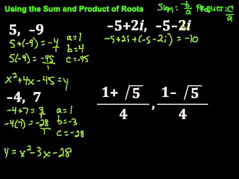 Using the Sum and Product of Roots