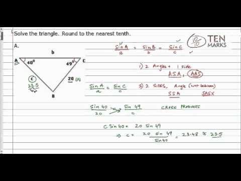 Use the Law of Sines for AAS and ASA