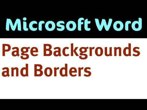 Page Backgrounds and Borders in Word 2007