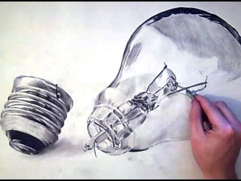 REALISTIC LIGHTBULB Drawing in Charcoal - Technical practice -