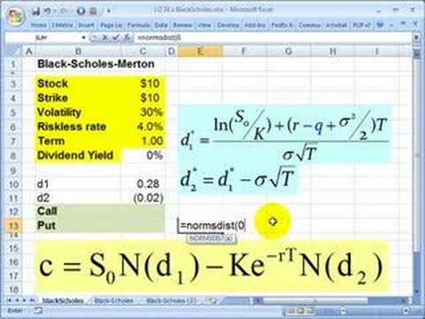 Using Excel to calculate Black-Scholes-Merton option price
