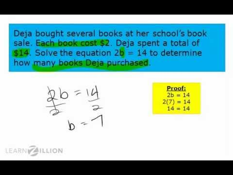 Solve multiplication and division problems using 1-step equations - 6.EE.7