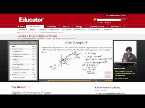 Pre-Calculus: Algebraic Representation of Vectors
