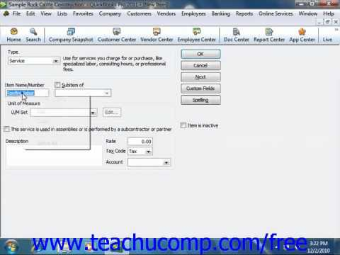 QuickBooks 2011 Tutorial Service Items Intuit Training Lesson 6.1