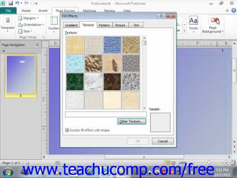 Publisher 2010 Tutorial Customizing Page Backgrounds Microsoft Training Lesson 7.3