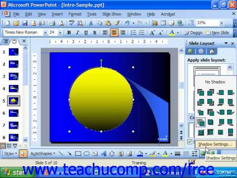 PowerPoint 2003 Tutorial Applying & Changing Shadow Effects Microsoft Training Lesson 19.9
