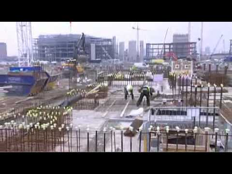 Olympic Village - construction comes out of the ground  - London 2012