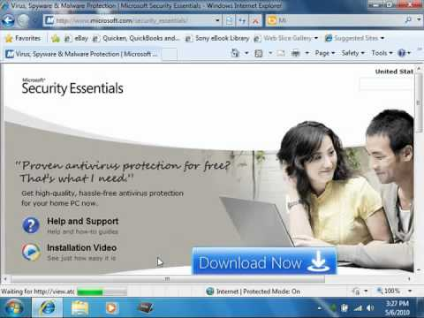 Windows 7 Tutorial Microsoft Security Essentials Microsoft Training Lesson 7.4