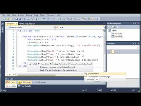 Visual Basic Tutorial - 87 - Dates Part 2