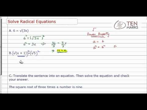 Solve Radical Equations