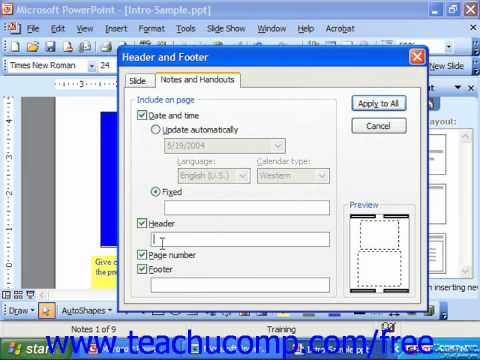 PowerPoint 2003 Tutorial Set the Header & Footer for Notes & Handouts Microsoft Training Lesson 22.3