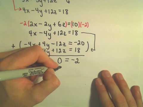 Systems of Linear Equations - Inconsistent Systems Using Elimination by Addition - Example 1