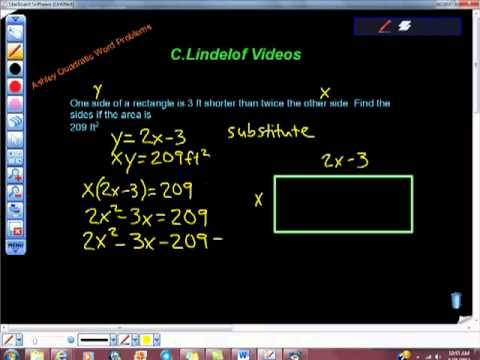 Quadratic Equation Word Problem Rectangle Ashley