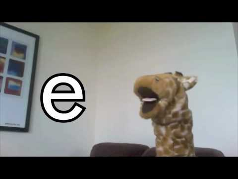 Teaching Geraldine the alphabet - e