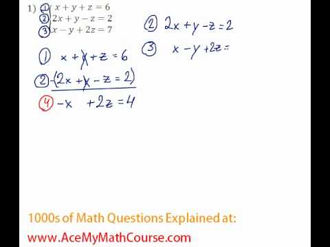 Systems - 3 Equations and 3 Variables #1