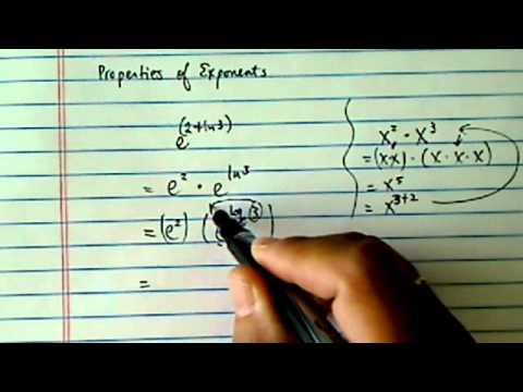 Property of Exponents: prove that e^(2+ln3) = 3e^2